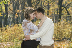 Husband & his pregnent wife. Husband & his pregnent wife are walking in the wood Stock Photos