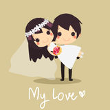 Husband holding  bride arns cute wedding  Love vector Stock Images