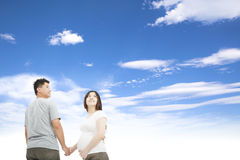Husband holding pregnant wife hand Stock Images
