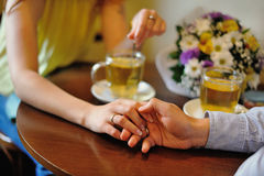 Hands of a married couple Stock Images