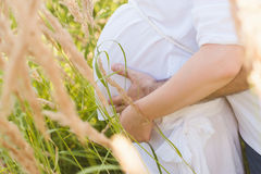 Husband hugging belly pregnant wife, love, anticipation, attitude, lifestyle Royalty Free Stock Photo