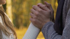 Husband kissing wife hands on outdoor date, careful love attitude to partner stock footage