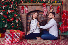 Husband massage for his pregnant wife who suffered shoulder pain Royalty Free Stock Image