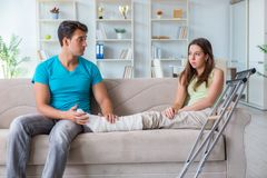 The husband man supporting injured wife. Husband men supporting injured wife Royalty Free Stock Images