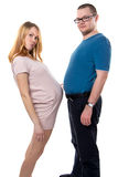 Husband and pregnant wife with tummies Stock Photo