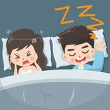 The husband snores loudly every night stock illustration