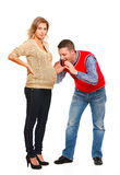 Husband speaking with pregnant wifes belly Royalty Free Stock Photo