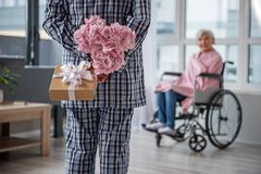 Old male giving a present to his wife. Husband standing in room with flowers and gift in his hands. He is hiding them behind his back. Senior woman sitting in Royalty Free Stock Images