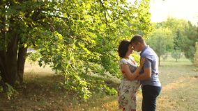 Husband tenderly hugging and kisses pregnant wife. stock footage