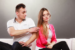 Husband trying to apologize wife. Disagreement. Stock Images