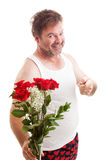 Husband with Valentines Flowers Royalty Free Stock Image