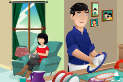 Husband washing dishes. A vector illustration of husband washing dishes while wife using tablet PC Royalty Free Stock Images