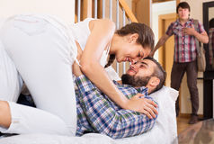 Husband watching how partner is cheating Royalty Free Stock Photography