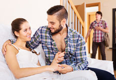 Husband watching how partner is cheating Royalty Free Stock Image