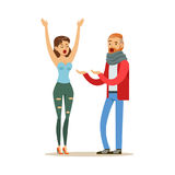 Husband and wife characters arguing and yelling on each other, negative emotions concept vector Illustration Stock Images