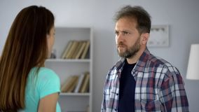 Husband and wife conflicting, problems in family couple relationship, quarrel. Stock photo stock images