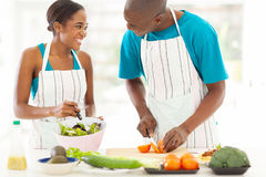 Husband wife cooking Royalty Free Stock Photo