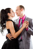 Husband and wife dancing on a white background Stock Photography
