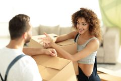 Husband and wife are discussing moving to a new home. Concept of family happiness Royalty Free Stock Photo