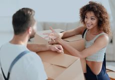 Husband and wife are discussing moving to a new home. Concept of family happiness Royalty Free Stock Images
