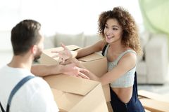Husband and wife are discussing moving to a new home. Concept of family happiness Royalty Free Stock Photos
