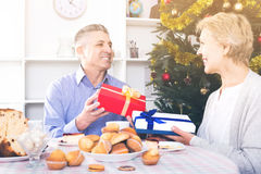 Husband and wife exchange holiday gifts for Christmas and New Ye. Spanish husband and happy wife exchange holiday gifts for Christmas and New Year royalty free stock images