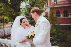 The husband and wife. A gentle touch Stock Images