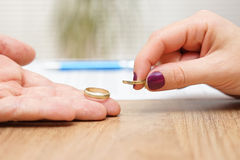 Husband and wife are giving  wedding rings back, break up concep Stock Image