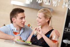 Husband and wife have dating supper Stock Photos