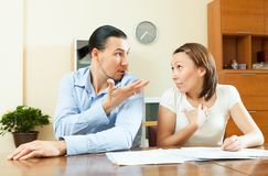 Husband and wife having financial problems Stock Image