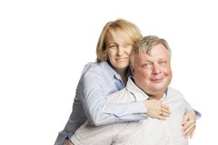 Husband and wife hugging and laughing, happy family royalty free stock photo