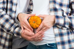 Husband and wife in jeans and a plaid shirt holds little pumpkin in their hands. Couple posing a heart with their fingers on belly. Of expectant mother royalty free stock photo