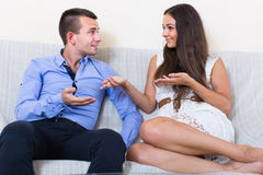 Husband and wife joking about something at home Royalty Free Stock Images