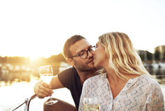 Husband and Wife Kissing Stock Photo