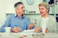 Husband and wife are lead discussion Stock Photos