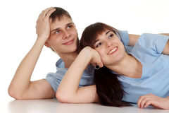 Husband and wife lie and dream Royalty Free Stock Photos