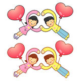 Husband and Wife Mascot flying big balloons. Home and Family Cha Stock Photography