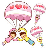 Husband and Wife Mascot flying big balloons. Home and Family Cha Stock Image