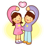 Husband and Wife Mascot love gesture. Home and Family Character Stock Images