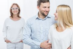 Husband, wife and mother-in-law Stock Images