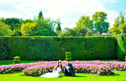 Husband and wife at the palace. A just married couple, through the beautiful gardens of a palace royalty free stock photos