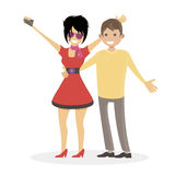 Husband and wife are photographed. A woman and a man make a selfie. Family clubbers. Characters people vector flat illustration. Royalty Free Stock Photography