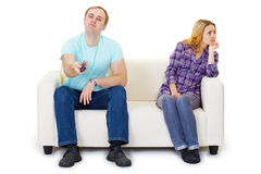 Husband and wife in a quarrel Stock Photos