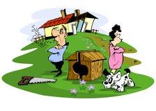 Husband and wife quarreled. Illustration Stock Photos