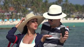 Husband And Wife Selfie On Vacation stock video