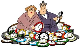 Husband & wife setting clocks. This illustration depicts a man and woman setting time while standing in a pile of clocks Stock Photo