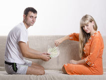 Husband and wife share the salary Royalty Free Stock Images