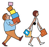 Husband and wife shopping. Vector Husband and wife shopping Stock Illustration