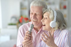 Husband and wife singing songs Stock Image