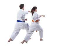 Husband and wife sportsmen beat a punch hand against a white background Stock Images